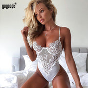 Gagaopt 2018 Lace Bodysuit Women Floral Embroidery White/Black Bodysuit Perspective Sexy Bodysuit Teddy Rompers Jumpsuit