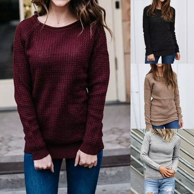 Fashion Women Winter Warm Solid O-Neck Long Sleeve Knitted Top Sweater Blouse