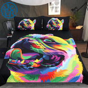 Loyal Bulldog by Weer Bedding Set Colorful Pet Dog Duvet Cover Cartoon Animal Bed Set for Kids Watercolor Bedclothes 3-Piece