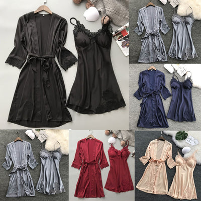 Lingerie Women Silk Lace Robe Dress Babydoll Nightdress Sleepwear Kimono Set