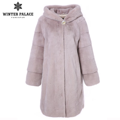 Hooded genuine mink fur coat High grade Winter new Long mink fur coat Short import mink fur coats women color real mink fur coat