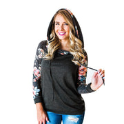 Fashion Women's Hooded  Print Long Sleeve Pullover Stand Sweatshirt