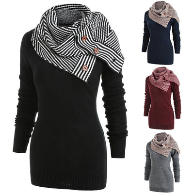 Women Striped Buttons Scarf Skew Neck Long Sleeve Knitted Sweater Pullover Coat