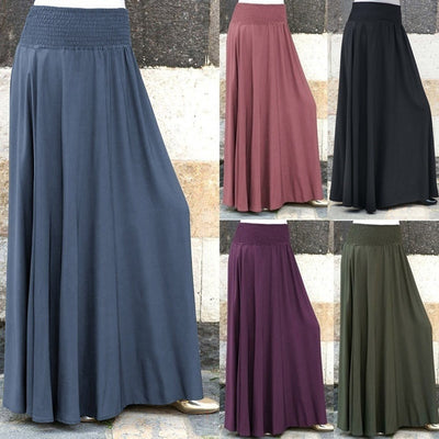 Women Fashion Elastic Waist Solid Pleated Skirt Vintage A-line Loose Long Skirts