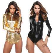 Women's Sexy Jumpsuit Leather Underwear Zipper Underwear