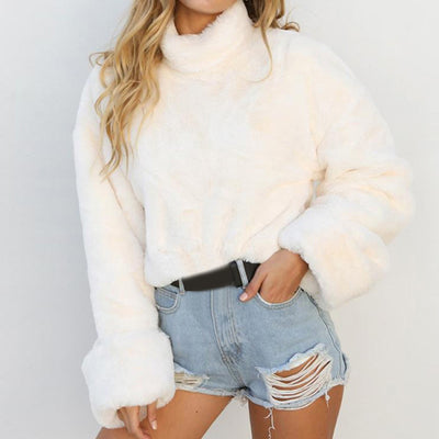 Women Warm Long Sleeve High Neck Pullover Blouse Short Shirts Sweatshirt