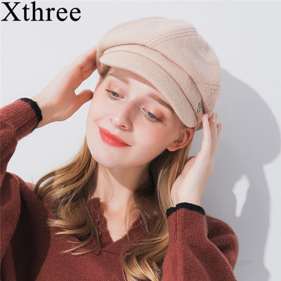 Xthree winter women's hat wool octagonal hat with visor fashion solid newsboys hat for girl  women autumn hat