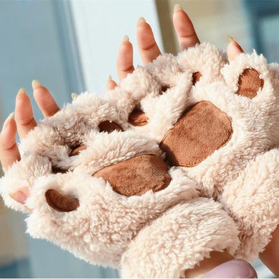 Autumn and Winter Thick Warm Gloves Half Finger Cute Ladies Student Fashion Keyboard Cat Claw Gloves