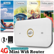 4G Highspeed Mobile Wifi Wireless Pockets Hotspot Portable Router Modem Support 10 Users Access for Camping Travel Home Outdoor