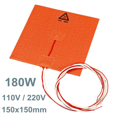 110V / 220V 180W 3D Printer Silicone Heater Heated Bed Pad Heating Mat Office 3D Printing Parts Accessories 150x150mm