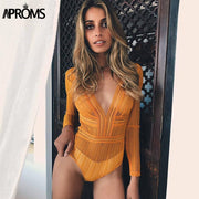 Aproms Deep V neck Lace Mesh Crochet Bodysuit Women Slim Fit Romper Jumpsuit Sexy High Street Bodysuits Tops for Women Clothing