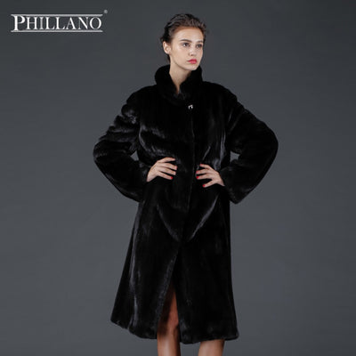 SALE  Phillano premium women mink garment natural fur coat classic style Scandinavia Denmark NAFA YG13032-110