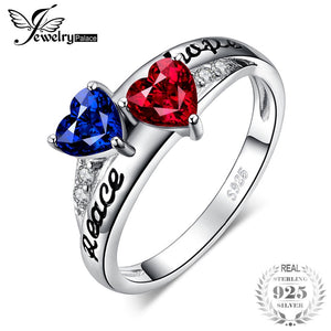 JewelryPalace Vintage Intertwined Engraved Peace Hope Created Ruby Sapphire Ring 925 Sterling Silver Gifts For Best Friends New