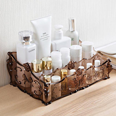 DINIWELL Luxurious Makeup Organizer PS Flower Carving Storage Box Container Nail Casket Holder Desktop Sundry Storage Holder