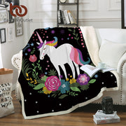 BeddingOutlet Unicorn Cartoon Throw Blanket for Kids Flowers Bedspread Rainbow Hair Sherpa Plush Bed Blanket Stars Moon Bedding