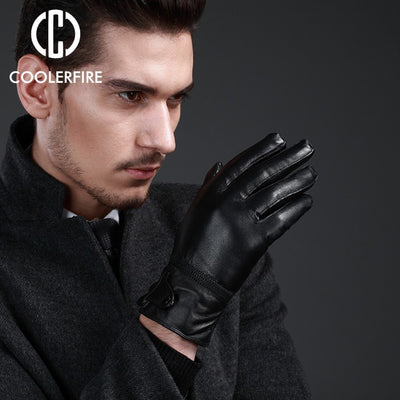 New Designer Gloves For Men High Quality Genuine Leather sheepskin Mittens Warm Winter Men's Gloves Black Male Glove ST027