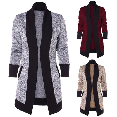 Fashion Women Casual Long Sleeve Two Tone Patchwork Knit Pocket Cardigan Tops
