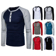 New Fashion Men's Round Collar Color Matching Long Sleeve Cotton Fitness Large Size High Elasticity Pullover T-Shirt Undershirt