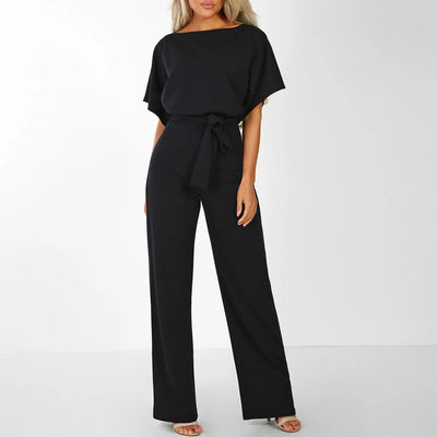 Women Short Sleeve Playsuit Clubwear Straight Leg Jumpsuit With Belt