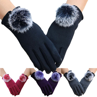 Fashion Warm Winter Women's Gloves Velvet Cashmere Rabbit Fur Ball Pompons Elegent Lady Screentouch Windproof Gloves Thickened