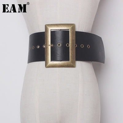 [EAM] 2019 Fashion New Metal Big Buckle PU Leather Exceed Width Belt Woman Retro All-match Solid Black Belt Women YA59901