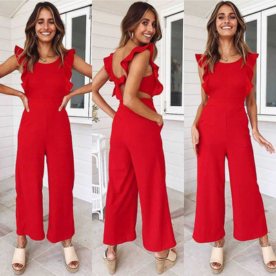 Women Solid Color Sleeveless Dinner Evening Party Playsuit Romper Dress