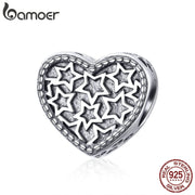 BAMOER Genuine 925 Sterling Silver Valentines Day Gift Heart Shape Star Pave Beads fit Women Bracelets Bangles Jewelry SCC1052