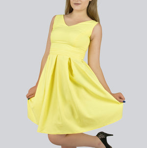 Pleated V-neck Dress by Smart Marché