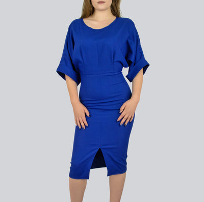 Royal Blue fitted dress with front slit