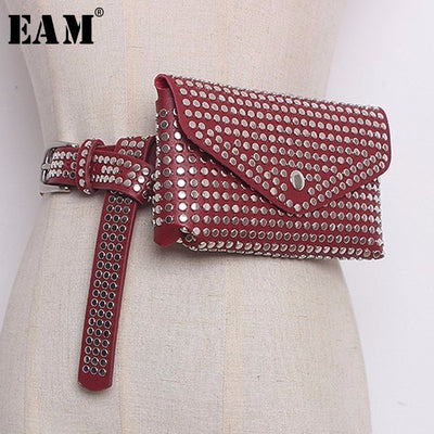 [EAM] 2019 New Summer Spring Women 4 Color Fashion Tide Rivet PU Leather Belt Detachable Mini-bag Practical All-match LA711