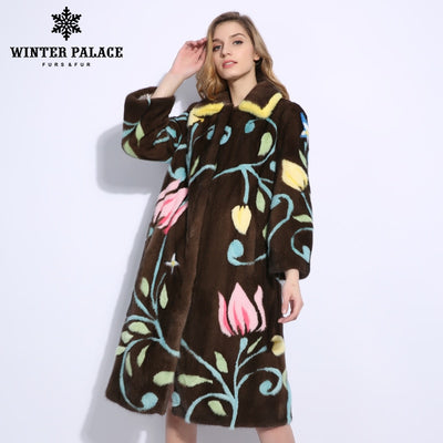 Winter fashion Mink Fur Coat 2018 New Print Long Import Crown Level natural mink fur coats