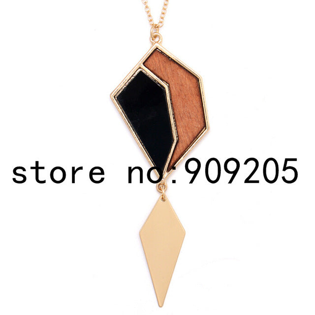 SANSHOOR Women's Long Hand Made Ceramic Beads Wood Pendant Sweater Chain Necklace Wooden Triangle Shape Alloy Chain For Female