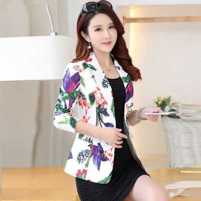 5444b515ab87 2019 Autumn Print Women Blazers And Jackets Elegant OL Small Suit Jacket  Female Short Outwear Blazer