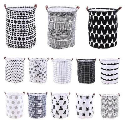 Standing Toys Clothing Storage Basket Folding Laundry Basket Cartoon Storage Barrel Laundry Organizer Holder Pouch Household