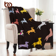 BeddingOutlet Dachshund Flannel Blanket Cartoon Colorful Coral Fleece Blanket for Kids Bed Throws Dog Puppy Warm Soft Bedspreads