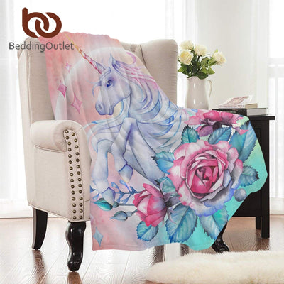 BeddingOutlet Unicorn and Rose Flannel Blanket Floral Coral Fleece Blanket Pink Green Bed Throws Cartoon Warm Sheets for Kids