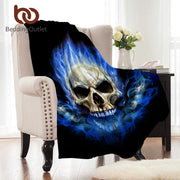 BeddingOutlet Flame Skull Flannel Blanket Gothic Coral Fleece Blanket for Beds Warm Sheets Blue Fire Coverlet Sofa Cover 150x200