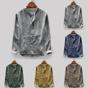 Fashion Mens Autumn Winter Button Casual Linen and Cotton Long Sleeve Top Blouse