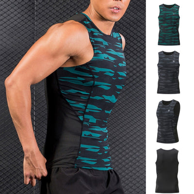 Men's New Dry Compressed Fitness Vest Elastic Muscle Men's Sports Blouse Top