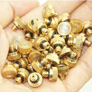"10/20pcs Garden Misting Nozzles Brass for Cooling System 0.012"" (0.3 mm) 10/24 UNC (Color: Gold)"