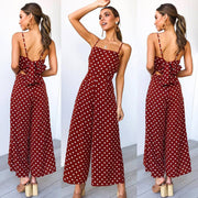 Womens Polka Dot Holiday Wide Leg Pants Long Jumpsuit Backless Strappy Playsuit