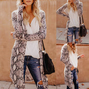 Womens Fashion Sexy Long Sleeves Leisure Snake Print V-Neck Long Cardigan Coat