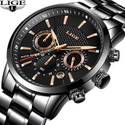 2019LIGE Mens Watches Top Brand Luxury Men's Military Sports Quartz Watch Men Stainless Steel Waterproof Watch Relogio Masculino