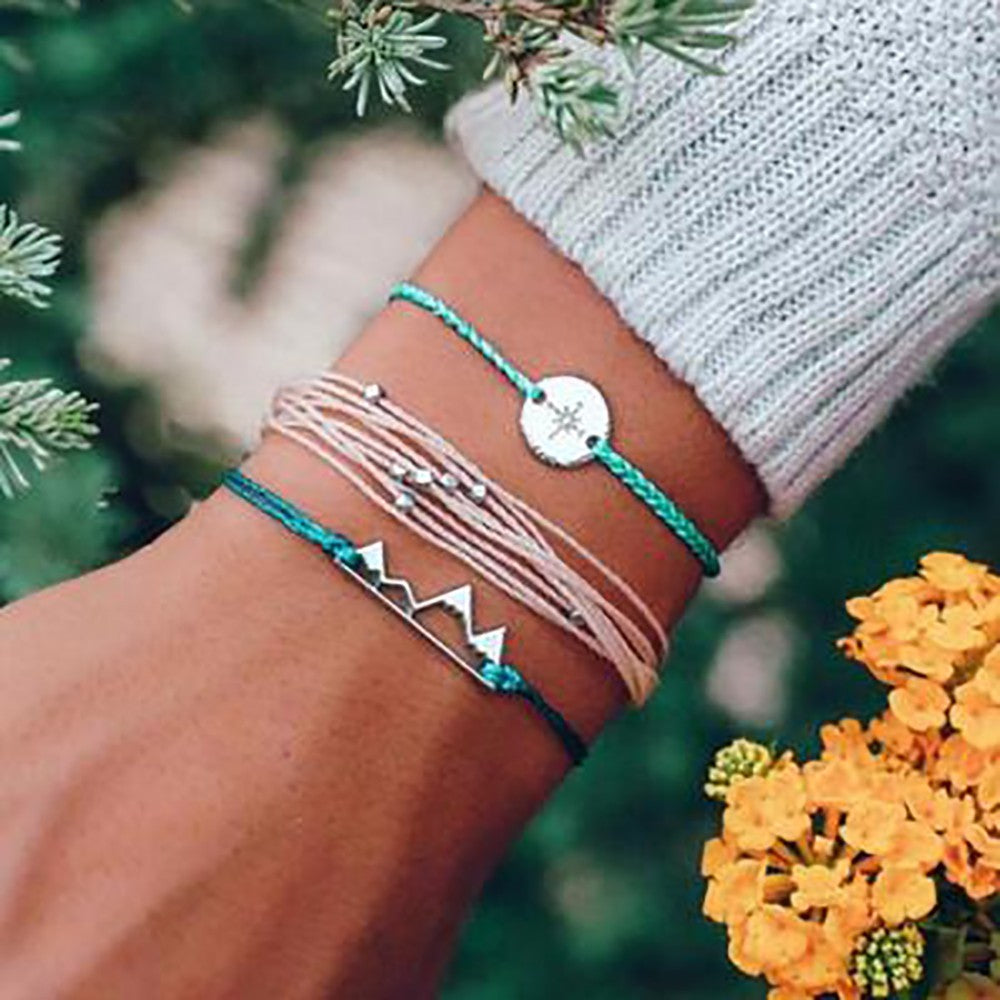Bohemian Wax Line Beaded Hemp Rope Compass Hollow Mountain Bracelet Three-piece