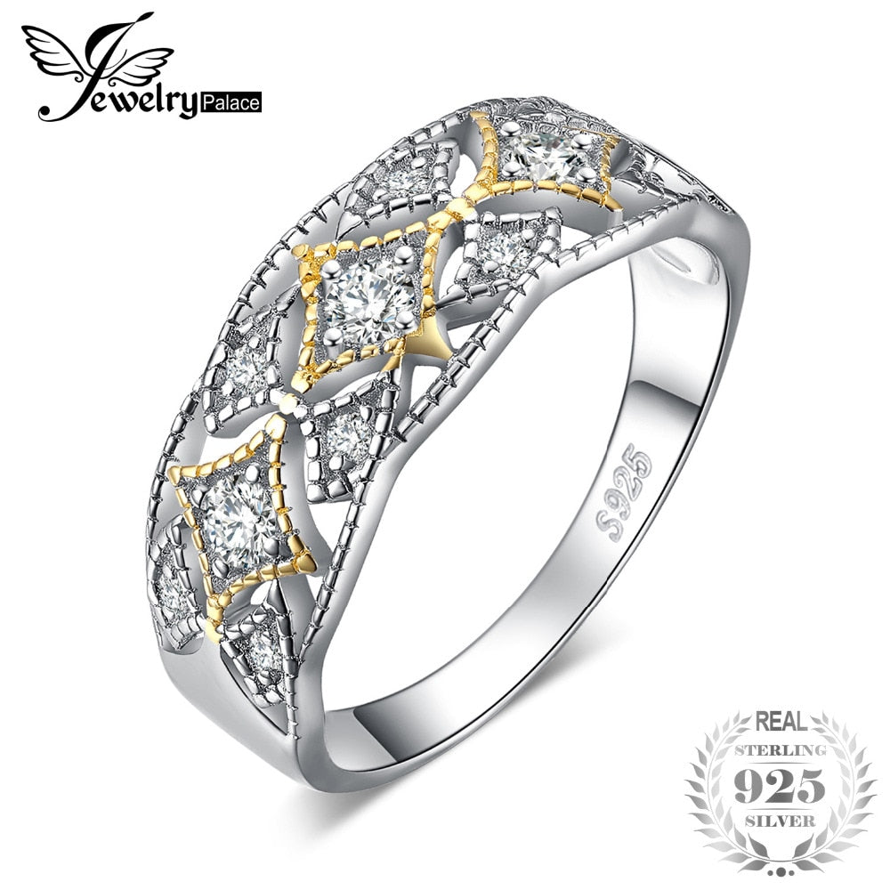 JewelryPalace 925 Sterling Silver Vintage Filigree Cubic Zirconia Statement Ring Best Gifts For Women New arrival Trendy Jewelry