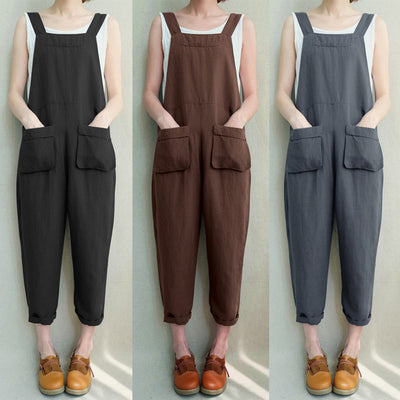 Women Sleeveless Dungarees Loose Cotton Linen Long Playsuit Party Jumpsuit