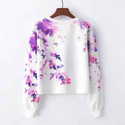 Women's Fashion O- Neck Pullover Rose Print Long Sleeve Sweater Blouse