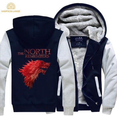 The North Remembers Game Of Thrones House Stark Brand Hoodie Men 2019 New Spring Winter Jackets Fleece Sweatshirts Thicken Hoody