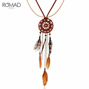 GS Boho Ethnic Jewelry Women's Long Hand Made Necklace Dreamcatcher Feather Pendant Sweater Chain All-match Decorative Necklace