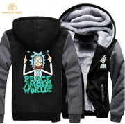 Science Moive Mens Jackets Rick and Morty Peace Among Worlds Hoodies Men 2019 Spring Winter Funny Sweatshirts Plus Size Hoody